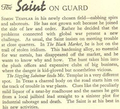 Leslie Charteris The Saint on Guard contents